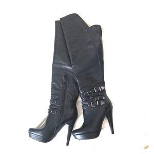 High heel black boots